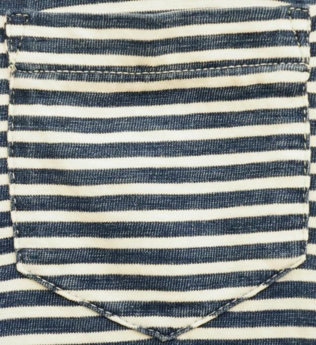 (ダブルアールエル) RRL インディゴ ストライプド ポケット Tシャツ 本藍染め インディゴ x ホワイト ボーダー Indigo Striped Pocket T-shirt