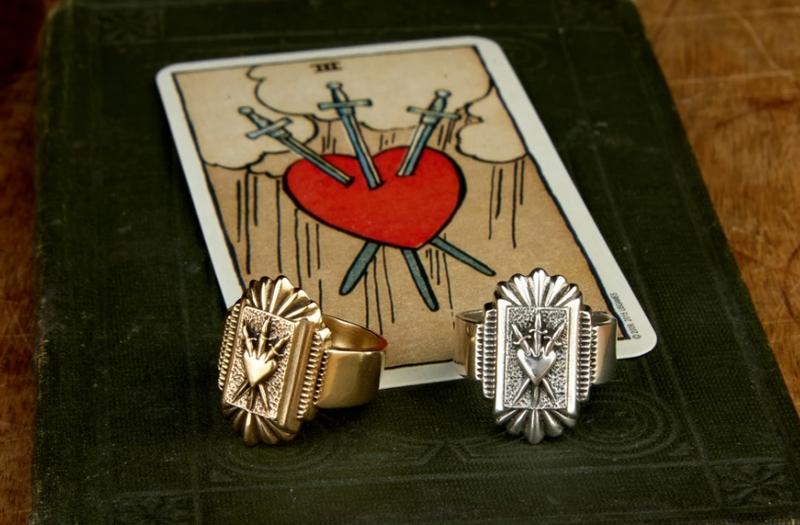 LHN Jewelry(エルエイチエヌ ジュエリー) ハンドメイド Three of swords リング タロット ハート 剣 真鍮 メンズ ユニセックス Brass Ring