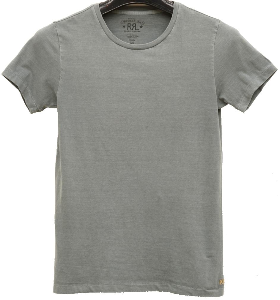 (ダブルアールエル) RRL クルーネック 裾ロゴ 刺繍 Tシャツ XL ウォッシュド ブルー