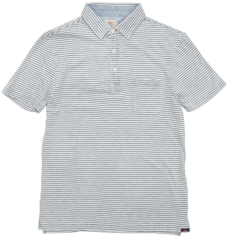FAHERTY BRAND (ファリティ ブランド) 本藍染め ボーダー ポロシャツ ソルトウォッシュ インディゴ メンズ Salt Wash Indigo Stripe Polo