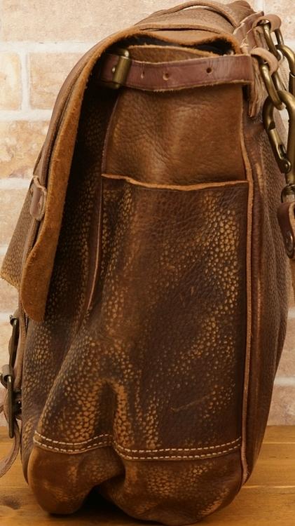 (ダブルアールエル) RRL イタリアンレザー サドル バッグ ブラウン メンズ Distressed Leather Saddle Bag