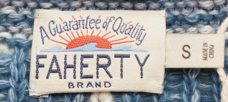 FAHERTY BRAND (ファリティ ブランド) ブランドロゴ インターシャ カーディガン コットンブレンド メンズ