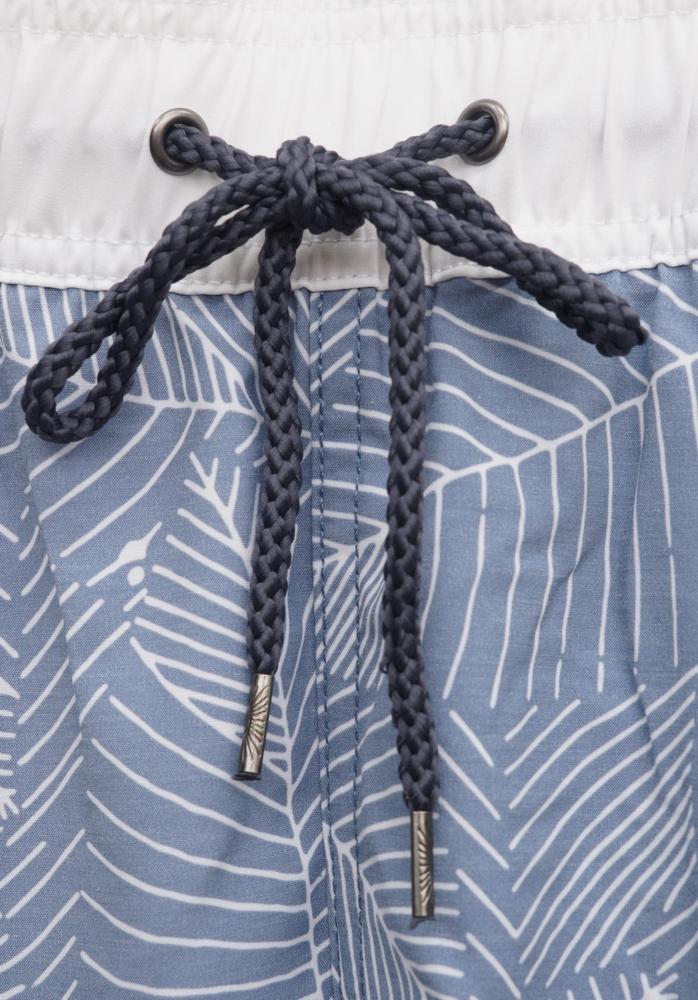 FAHERTY BRAND (ファリティ ブランド) ブルー ホワイト リーフプリント スイムウェア 水着 葉柄 リサイクル素材使用 メンズ Beacon Trunk Blue White Leaf Print