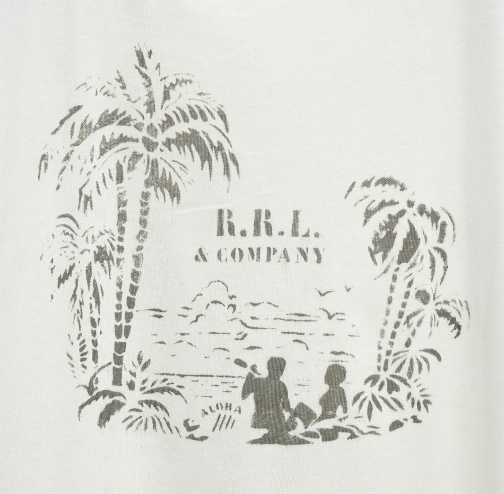 (ダブルアールエル) RRL ハワイアン トロピカル プリント ジャージー Tシャツ ホワイト メンズ Tropical Print Jersey Tshirt White