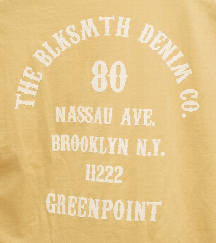 BLKSMTH (ブラックスミス) アメリカ製 バックプリント ブルックリン Tシャツ タン メンズ Tan
