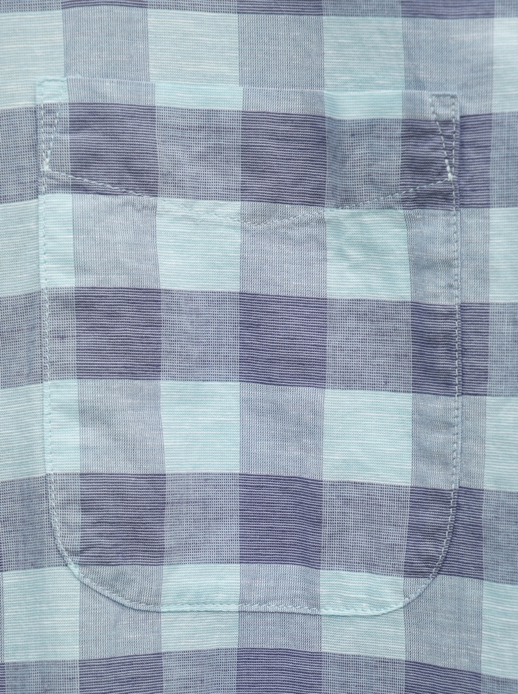 FAHERTY BRAND (ファリティ ブランド) リネンブレンド Cloud バッファローチェック 半袖 シャツ ネイビー x ミント メンズ Blend Shirt