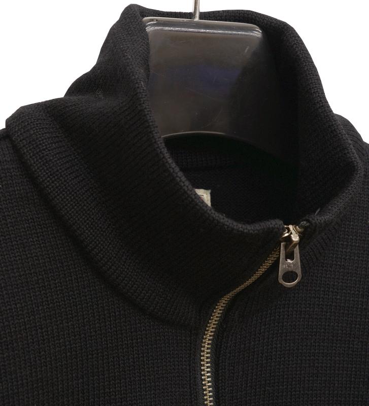 Dehen 1920(デーヘン) 1/4 ジップ モト ジャージー セーター ブラック メンズ アメリカ製 Zip Moto Jersey Black