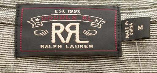 (ダブルアールエル) RRL ブラック インディゴ ストライプ ド コットン Tシャツ M  Black Indigo Pocket T