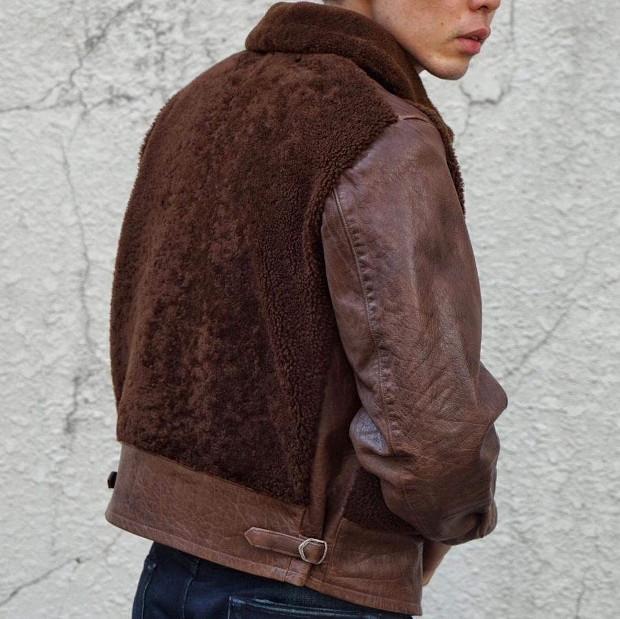 (ダブルアールエル) RRL Yates ラムレザー シアリング グリズリー ジャケット メンズ Shearling Jacket