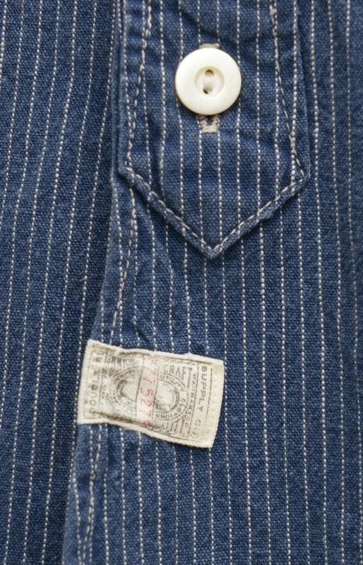 【委託販売品】(ダブルアールエル) RRL 本藍染め コットン ストライプ ワークシャツ ブルー メンズ indigo stripe Work Shirt