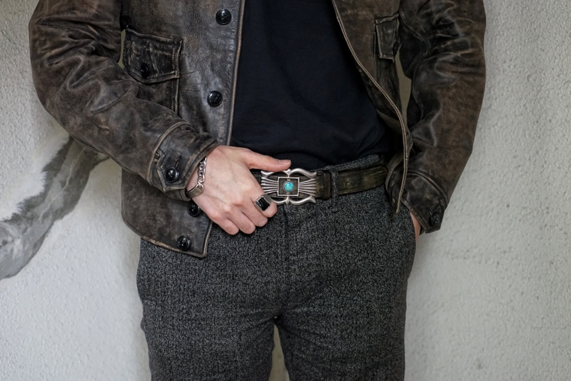 【 一点物 希少 】1950年代 ヴィンテージ ターコイズ x レザー ベルト アンティーク ブラウン No.16 メンズ Vintage Leather Belt Brown