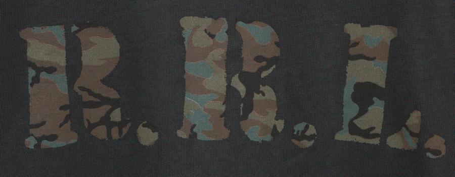 (ダブルアールエル) RRL ガーメントダイ コットン ジャージー Tシャツ ロゴ メンズ ウォッシュド ブラック