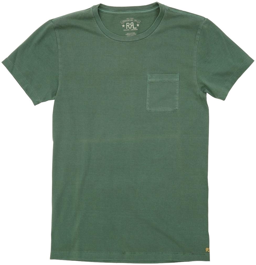 (ダブルアールエル) RRL ガーメント ダイド クルーネック ポケットTシャツ ロゴ刺繍 グリーン メンズ Crewneck Tshirt Green