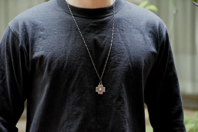 【 一点物 希少 】 ヴィンテージ ナバホ ターコイズ クロス ネックレス アンティーク メンズ Vintage Navajo Stanped Necklace