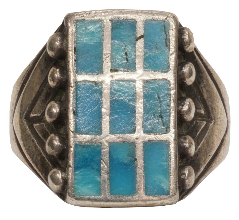 【 一点物 希少 】1940年代 ヴィンテージ ナバホ ターコイズ x スターリングシルバー リング アンティーク メンズ Navajo Inlayed Turquoise Ring