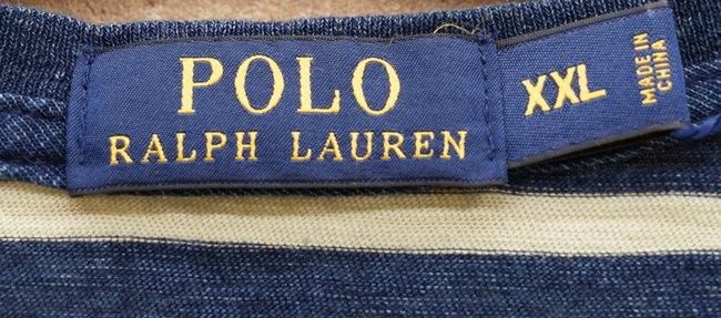 (ラルフローレン) Ralph Lauren インディゴ染め 裾刺繍 ボーダー ポケット Tシャツ XXL Indigo Dyed Striped T