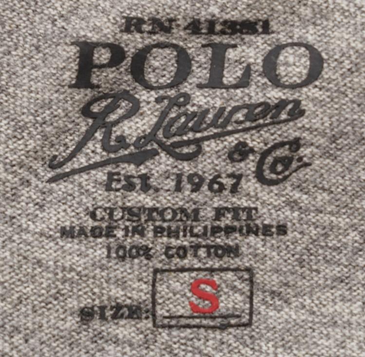 (ラルフローレン) Ralph Lauren ヴィンテージ加工 エンブレム Tシャツ 霜降りグレー メンズ