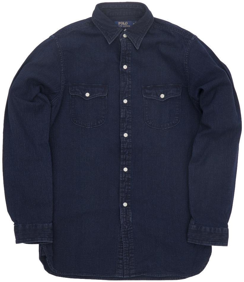 (ラルフローレン) Ralph Lauren 旧作 本藍染め コットン ワークシャツ メンズ Cotton shirt Indigo