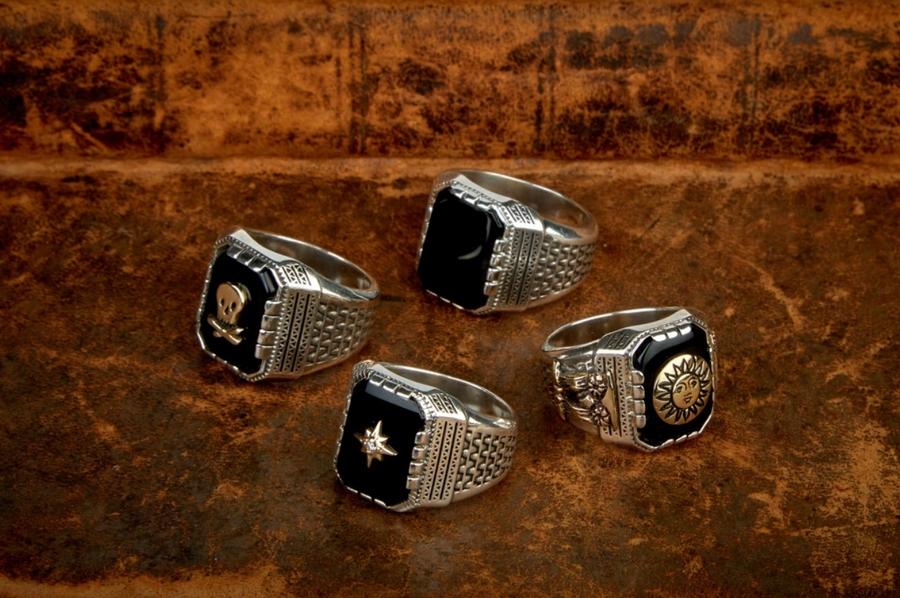 LHN Jewelry(エルエイチエヌ ジュエリー) アメリカ製 ハンドメイド Compass Aztec リング ダイヤモンド x シルバー x オニキス x ゴールド メンズ ユニセックス