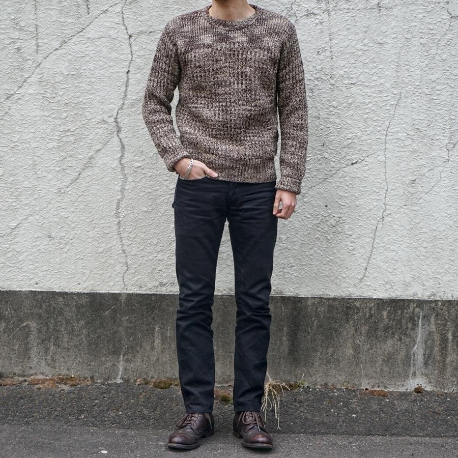 (ダブルアールエル) RRL コットン クルーネック セーター 霜降り ブラウン メンズ Cotton Crewneck Sweater