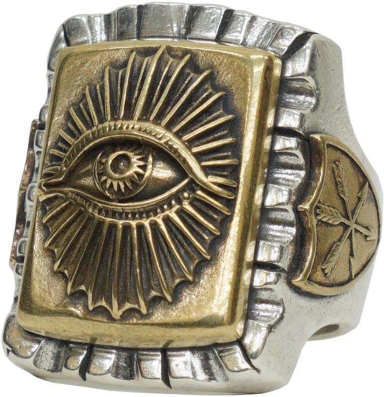 LHN Jewelry(エルエイチエヌ ジュエリー) ハンドメイド All Seeing Eye Souvenir リング シルバー x ブラス メンズ ring