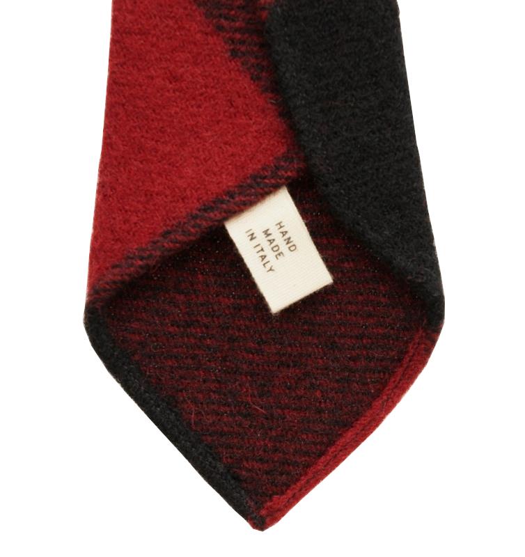 【委託販売品】(ダブルアールエル) RRL ハンドメイド ウール ネクタイ イタリア製 レッド × ブラック Handmade Wool Tie