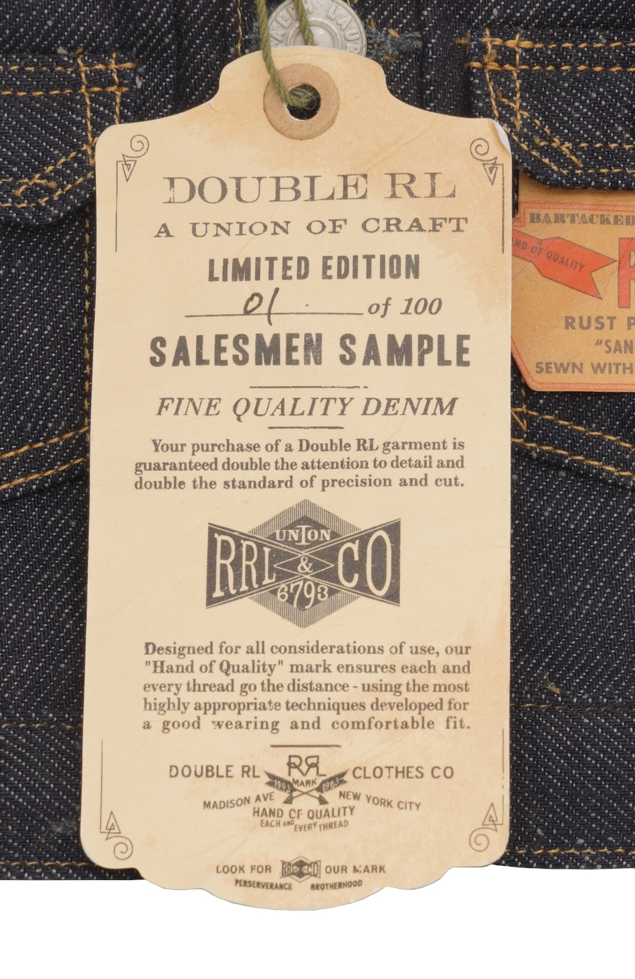 (ダブルアールエル) RRL 世界限定100着 リミテッドエディション 日本製デニム ミニ ジャケット Limited Edition Mini Denim Jacket No.1