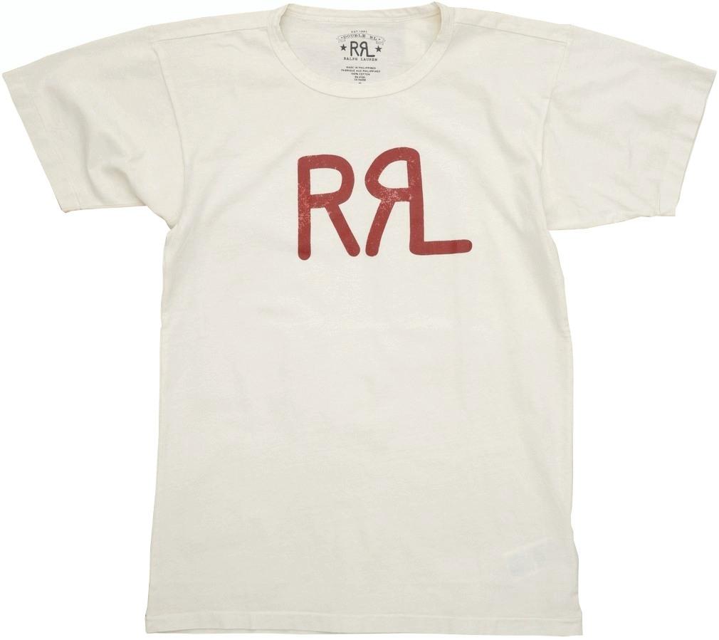 (ダブルアールエル) RRL ロゴ クルーネック Tシャツ ひび加工 ナチュラル メンズ