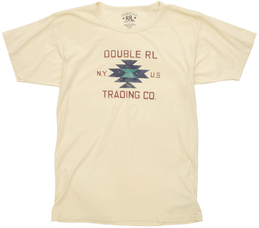 (ダブルアールエル) RRL コットン ジャージー グラフィック Tシャツ クルーネック クリーム ネイティブ メンズ Cotton Jersey Graphic Tshirt