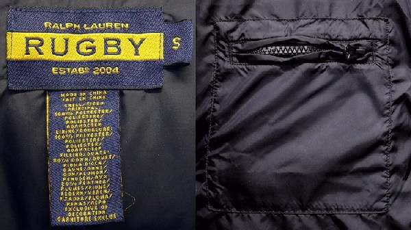 RUGBY / ラルフローレン ラグビー ワッペン ダウンジャケット 取外し可能 フード付 ネイビー S