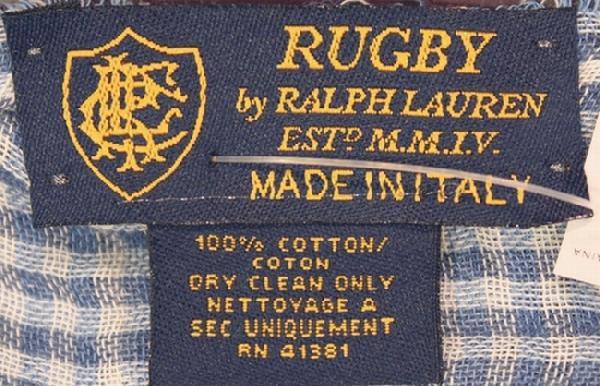 RUGBY / ラルフローレン ラグビー リバーシブル コットン チェック スカーフ イタリア製 ブルー
