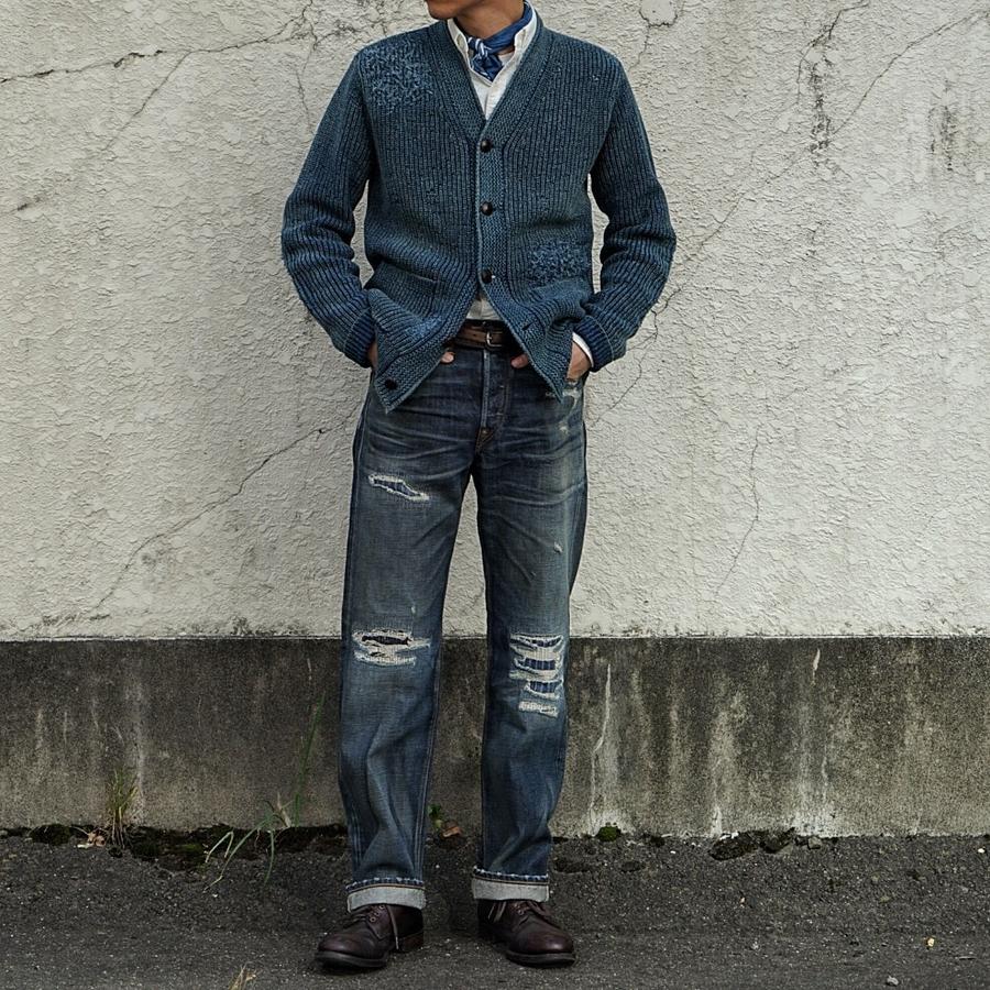 (ダブルアールエル) RRL インディゴ コットン カーディガン 本藍染め リペア加工 メンズ