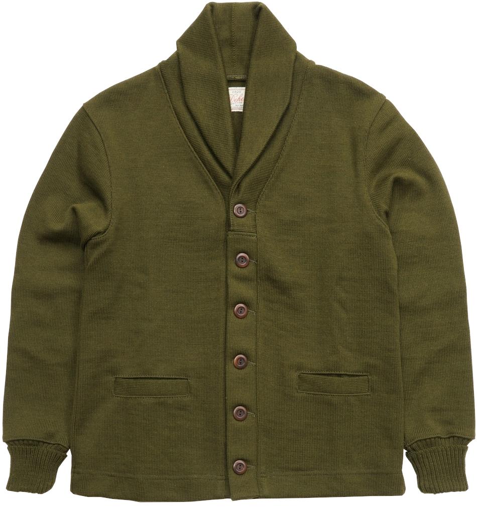 Dehen 1920(デーヘン) ショール セーター コート カーディガン ワッペン オリーブ メンズ アメリカ製 Shawl Sweater Coat Loden