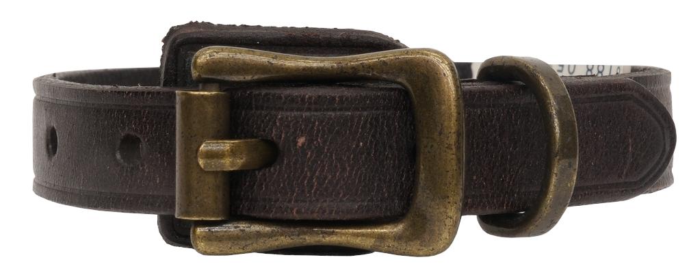 (ラルフローレン) Ralph Lauren バックル レザー ブレスレット エンブレム 型押し ダークブラウン Crest Leather Wrist Strap