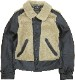 (ダブルアールエル) RRL Virgil シアリング レザー モト ジャケット ラム毛皮 ブラック メンズ Shearling Leather Moto Jacket