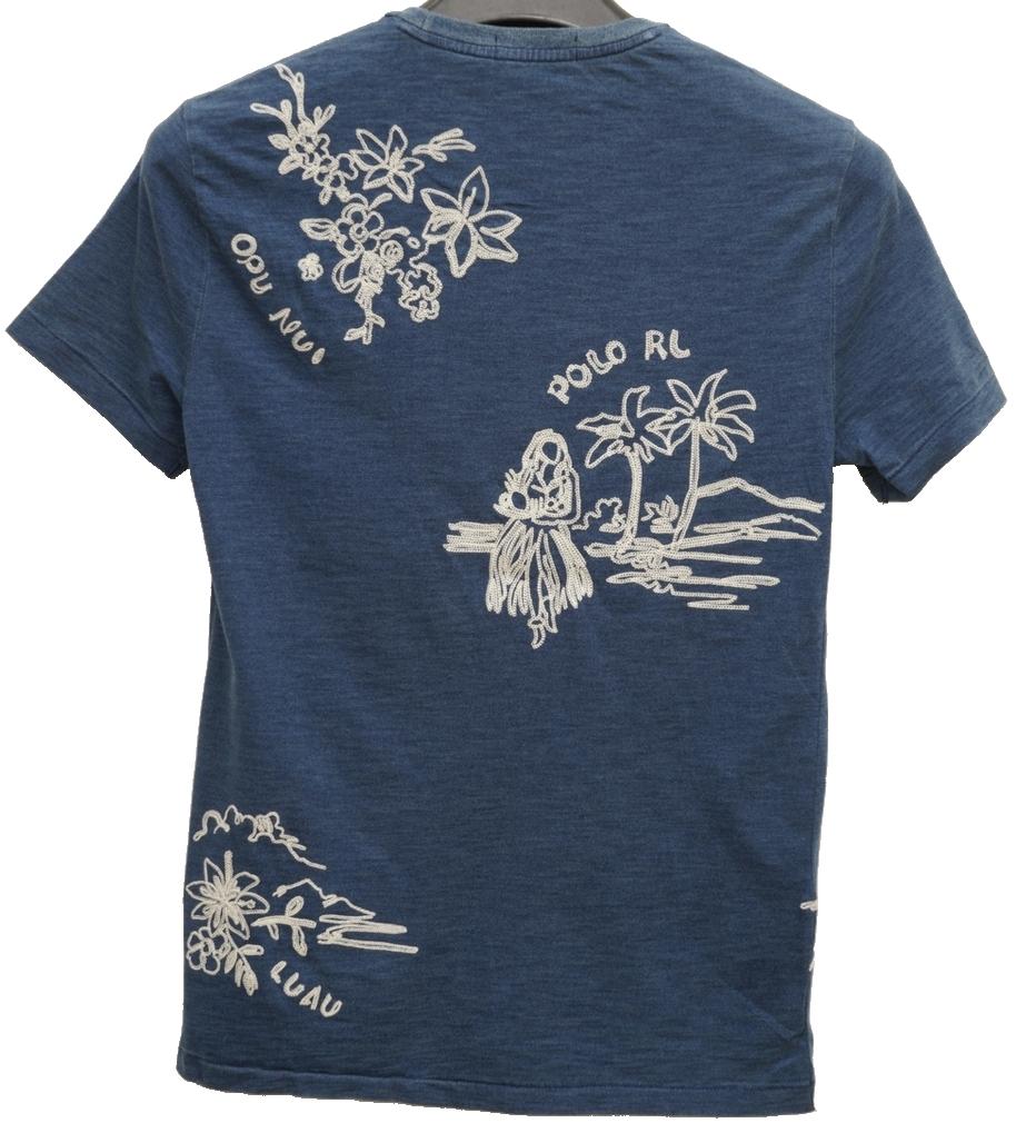 (ラルフローレン) Ralph Lauren ハワイアン 刺繍 インディゴ Tシャツ メンズ Classic Fit Cotton Tshirt