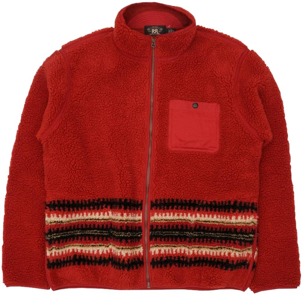 (ダブルアールエル) RRL シェルパ フルジップ フリース ジャケット ネイティブ柄 レッド メンズ Sherpa Liner Jacket