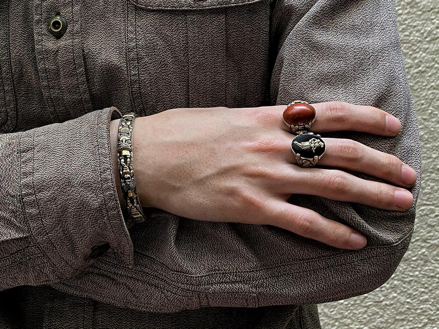 LHN Jewelry(エルエイチエヌ ジュエリー) 米国製 ハンドメイド Tropical Hula Girl リング シルバー x 真鍮 x オニキス メンズ ユニセックス Silver Brass Onyx