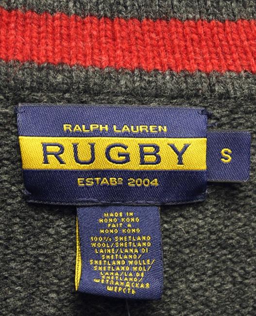 RUGBY / ラルフローレン ラグビー シェットランドウール ショールカラー ニット チャコール グレー