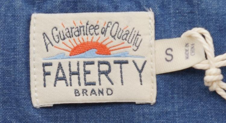 FAHERTY BRAND (ファリティ ブランド) 本藍染め インディゴ アロー ボーダー ヘンリー メンズ Indigo Jacquard Henley