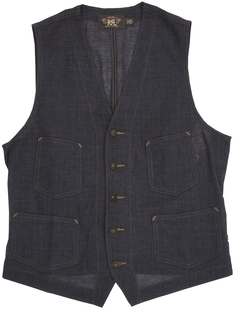 (ダブルアールエル) RRL 日本製生地 Anderson ウール リネン ブレンド 本藍染め ベスト インディゴ メンズ Indigo Wool Cotton Blend Vest