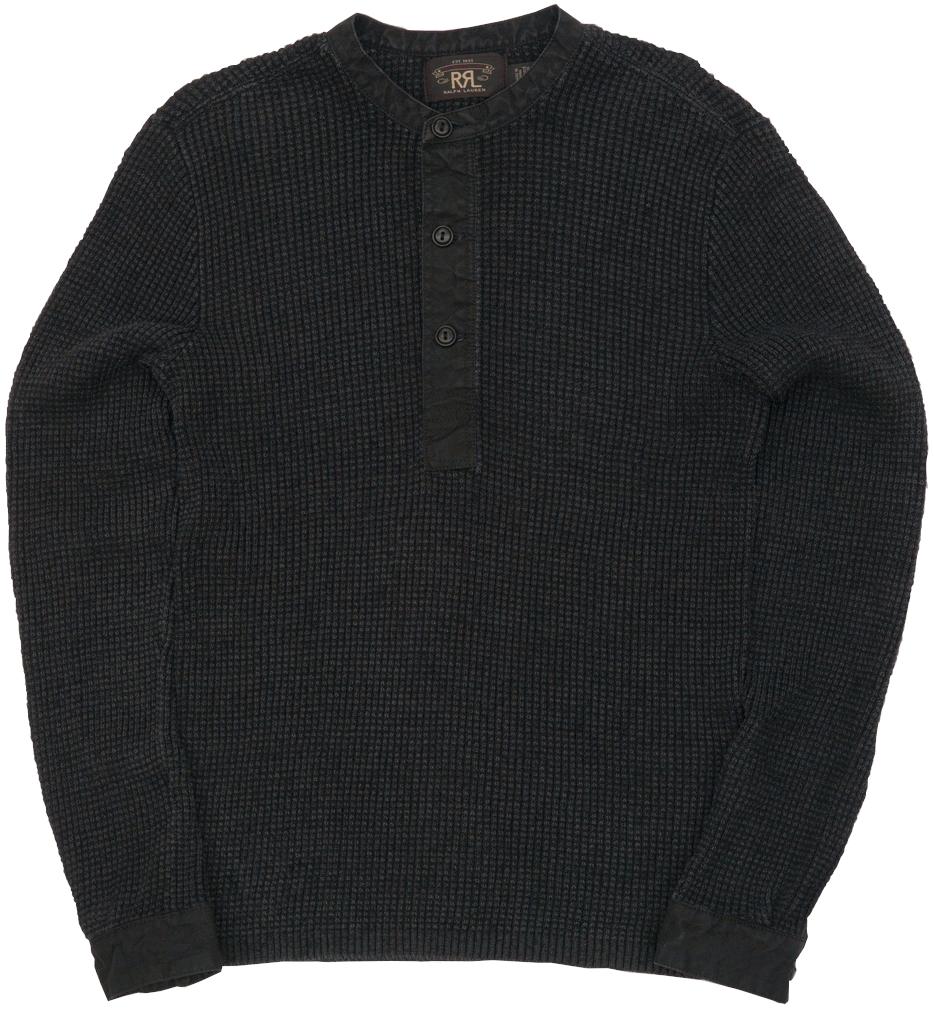 【委託販売品】 (ダブルアールエル) RRL ブラックインディゴ リネンブレンド ニット ヘンリー Linen-Blend Henley Knit Black