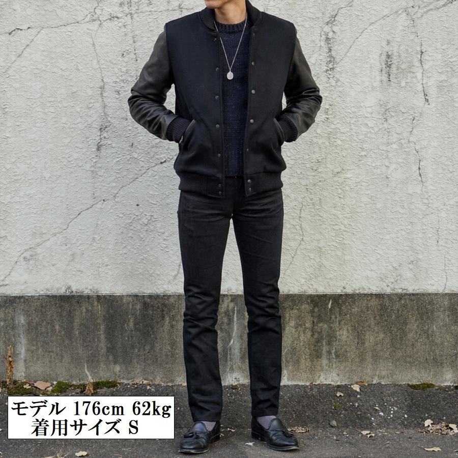 Dehen 1920(デーヘン) バーシティ ジャケット レザー スリーブ スタジャン ペンドルトン ウール地使用 ブラック メンズ アメリカ製 Black / Black