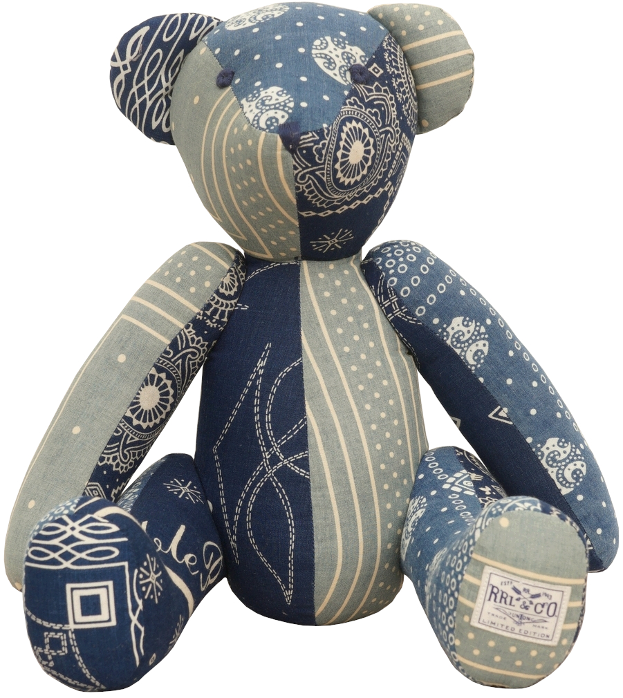 (ダブルアールエル) RRL 世界限定100個 リミテッドエディション インディゴ バンダナ パッチワーク ベア Limited Edition Bandana Bear