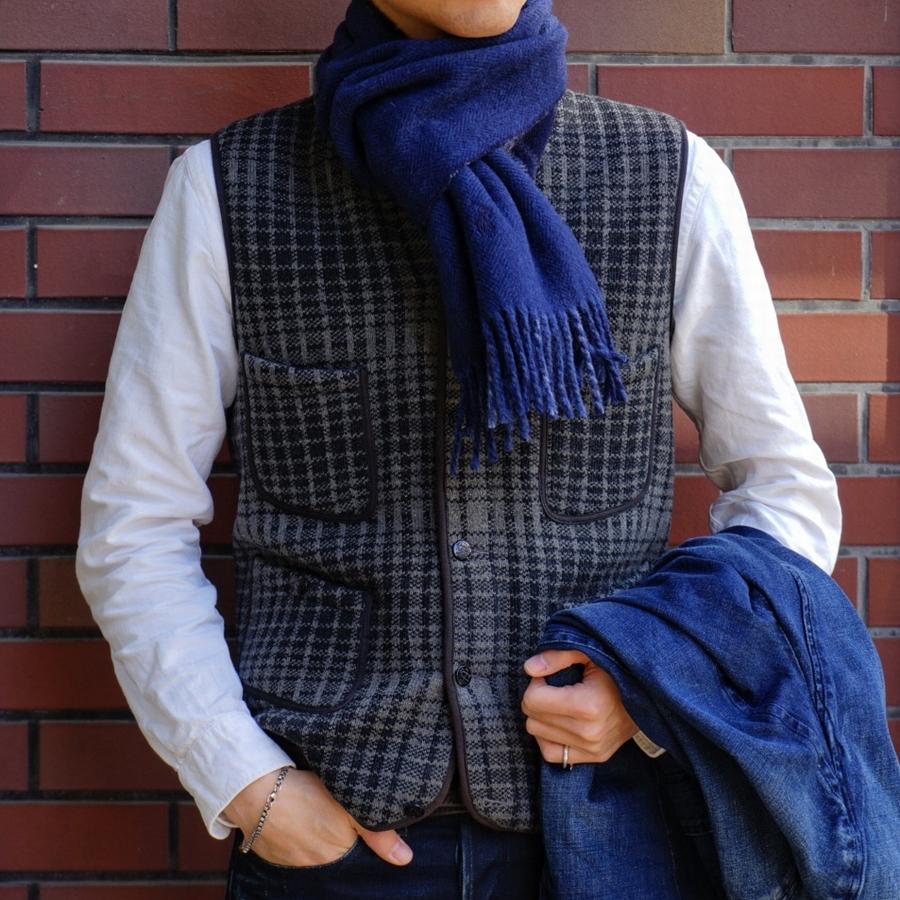 (ラルフローレン) Ralph Lauren ダブルフェイスド バージンウール マフラー イタリア製 ブルー x ネイビー ユニセックス プレゼント wool scarf blue