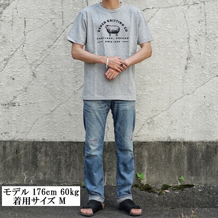 Dehen 1920(デーヘン) ロゴ & シープ スクリーンプリント Tシャツ 霜降りグレー Made In USA Dehen Knitting Co. Tee Heather