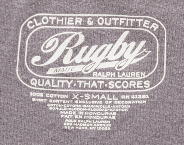 RUGBY(ラルフローレン ラグビー) コットン アンカーロゴ 刺繍 ヴィンテージ加工 Tシャツ パープル