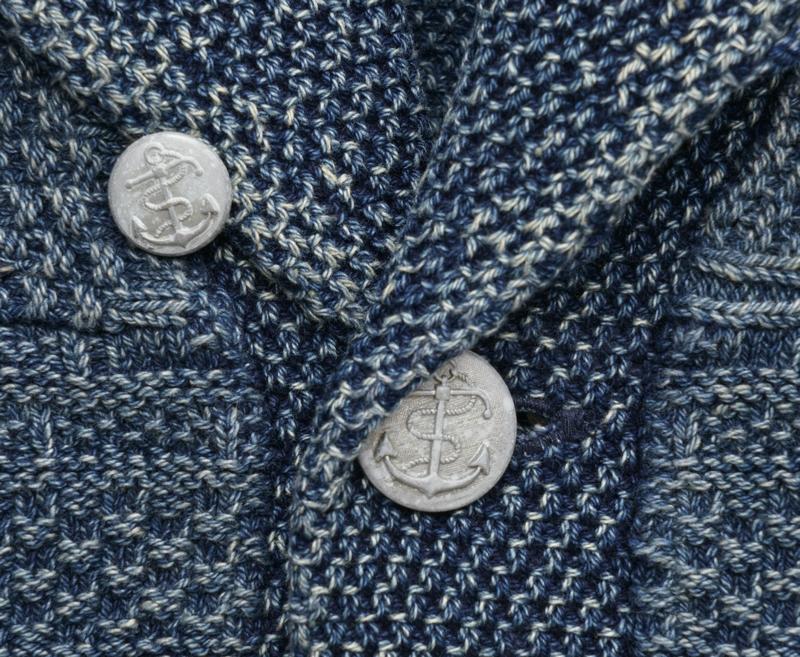 (ダブルアールエル) RRL 本藍染め インディゴ ガーンジー コットン カーディガン メンズ Indigo Cotton Guernsey Shawl Cardigan