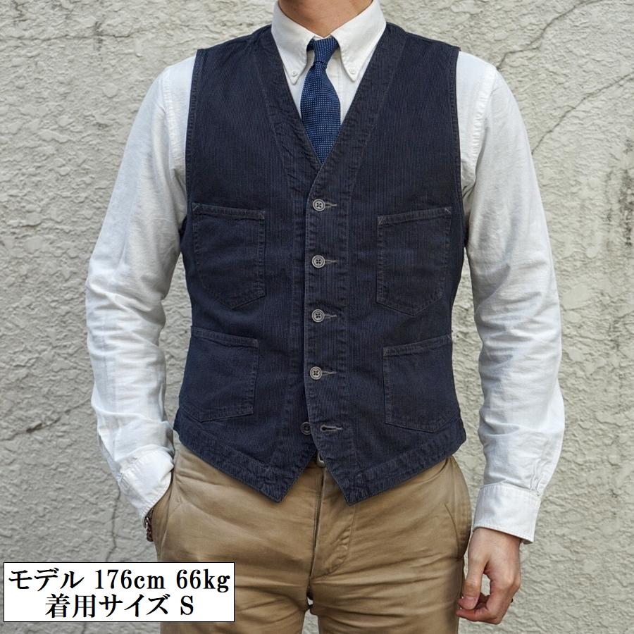 (ダブルアールエル) RRL 日本製生地 Atworth インディゴ ストライプ ドビー ベスト 本藍染め ジレ メンズ Indigo Striped Dobby Vest