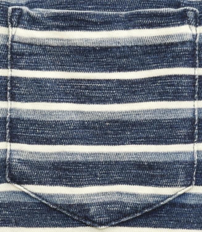 (ダブルアールエル) RRL インディゴ ストライプド コットン ポケット Tシャツ 本藍染め ブルーxホワイト メンズ Striped Cotton Pocket Tshirt
